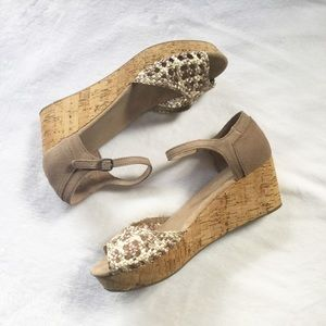 Toms Wedge Sandals With Crochet Detail
